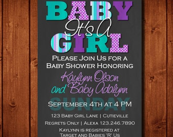 Baby Shower Invitation It's a Girl Purple and Teal Digital File or 5x7 Prints Front and Back