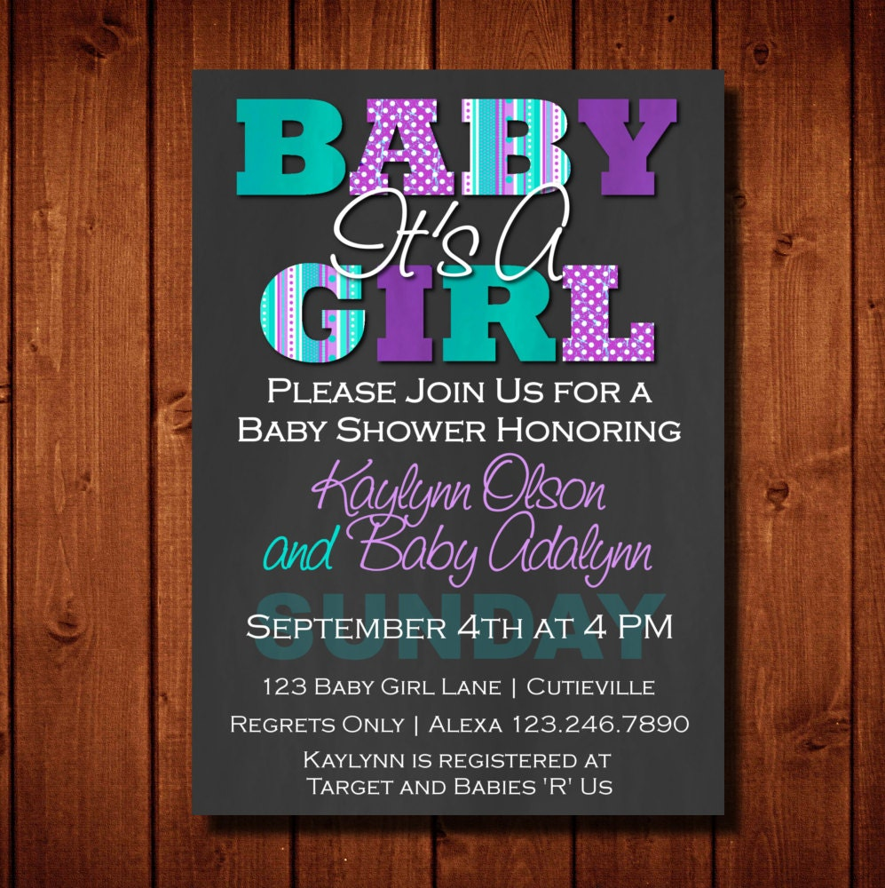 baby shower invitation it 39 s a girl purple and teal digital