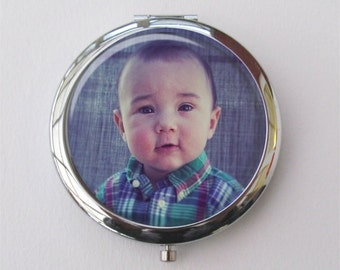 Personalized Compact Mirror, Custom Photo Gift, Purse Mirror