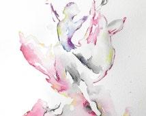 Abstract Painting, Watercolors, Ballerina, Ballet Dancer, Dance