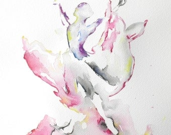 Abstract Painting, Watercolors, Ballerina, Ballet Dancer, Dance
