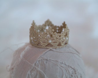 Newborn Baby Crown, Hand Painted Gold Bow Lace and Pearls Crown, Newborn Photography Prop, Baby Crown, Lace Crown