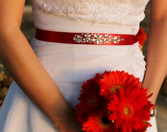 Tailored Bridal Sash of Satin With Crystal Rhinestones Applique