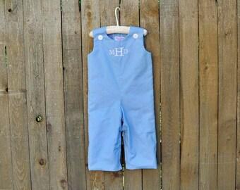 Light Blue Jon Jon, romper, longalls shortall, many colors, eco-friendly... size 3m,6m,9m,12m,18m,2t,3t,4t