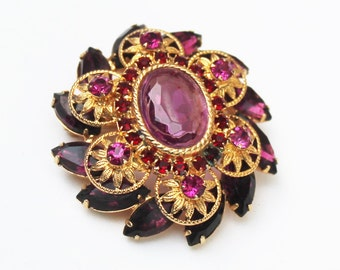 Large Purple Gold Glass and Rhinestone Brooch