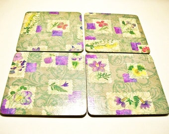Violets Flowers Coasters Wooden Decoupaged