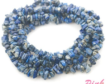 chips natural lapis lazuli semi precious beads small size 3-6mm strand 36"