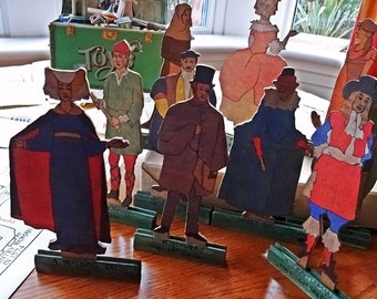 Vintage Wood Cut, Period Dressed Wooden Cut-outs, Educational Toys, Teaching Templates,Teaching Aids, 1934, Laser Cuts, Teaching Supplies