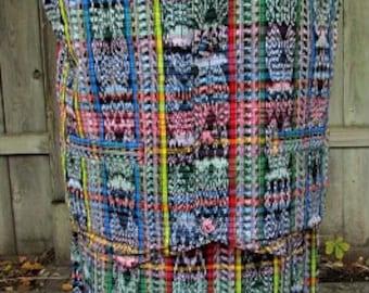 vintage 70s multi color guatemalan skirt vest set l ethnic hand woven guatemala