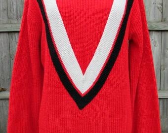 vintage 60s mens red shaker sweater black white v stripe preppy ivy league cool dude Pauke