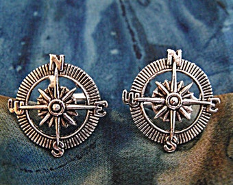 Silver Cufflinks,  Nautical Steampunk Compass  Mens Accessories Handmade