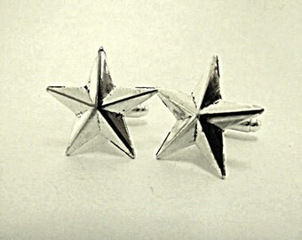 Mens Cufflinks, Silver Stars,  Mens Accessories  Handmade