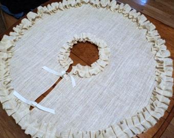 "36"" or 42"" Ivory Christmas Tree Skirt Burlap Tree Skirt with Ruffles"