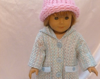 Light Blue wool coat twith knit hat for 18 inch doll c007
