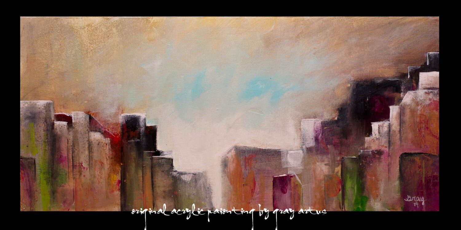 Urbain horizon urbain contemporain gicl e toile abstraite for Tableau pret a accrocher