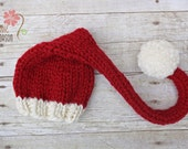 Red and White Santa Hat, Newborn Photography Prop, Christmas Prop