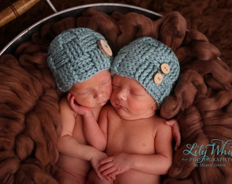 Woven Pattern Button Beanie Twin Set in Robins Egg Blue, Newborn Photography Prop