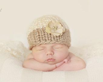 Knit Flower Beanie, Newborn Photography Prop, Cream and Tan Hat with Cream Flower