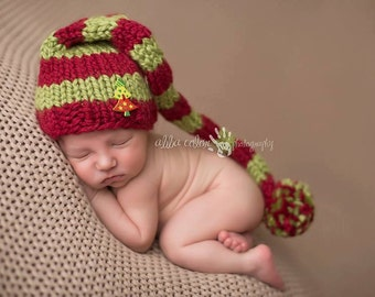 Red and Green Chunky Striped Elf Hat, Newborn Photography Prop
