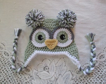 Sage Green and Grey Crochet Owl Hat - Photo Prop - Available in Any Size or Color Combination
