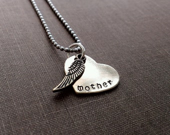 Mother remembrance necklace, Handstamped mother necklace, Remembrance Mother, Mother jewelry, Remembrance Jewelry, Memorial necklace