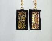 Fused Dichroic Glass Earrings Gold With Black Modern Design Circles