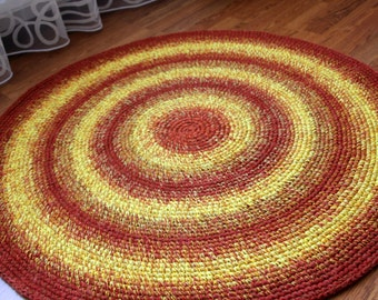 Beautiful crochet round rug in oranges and yellows, MADE TO ORDER
