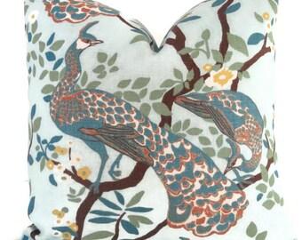 Decorative Pillow Cover Robert Allen Peacock Square, Euro sham or Lumbar pillow, Vintage Plumes - Accent pillow- Throw Pillow