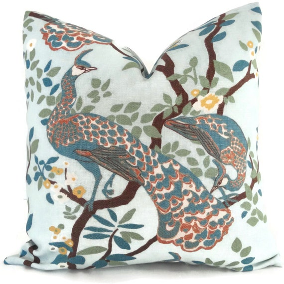 Decorative Pillow Cover Robert Allen Peacock Square Euro sham