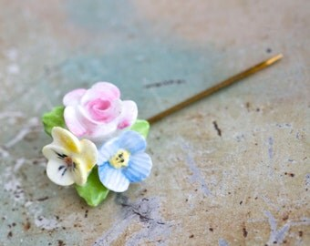 Porcelain Flowers Stick Pin - Spring Delight  - Colorful Bouquet Brooch