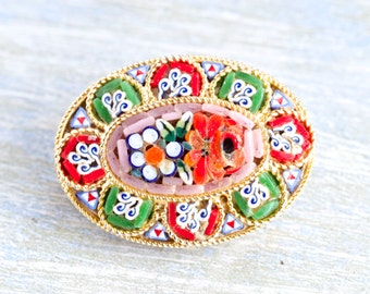 Exquisite Vintage Italian Mosaic Glass Inlay Flower Brooch Pin
