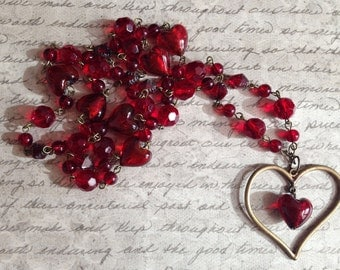 Necklace In Red Glass Beads with Heart Pendant- Open Hearts