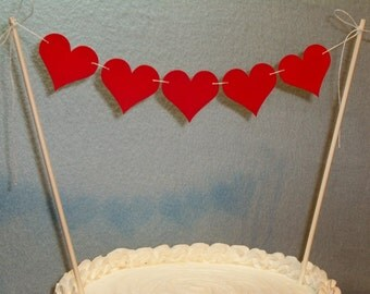 Heart Cake Topper Garland, Wedding Bunting, Valentine's Day, Anniversary