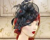 Black Fascinator Hat - Black Tea Party Hat, Kentucky Derby Hat, Wedding Fascinator - Fascinate Headband, fancy church hat with feathers