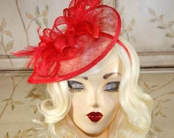 Red Fascinator - Red Kentucky Derby Hat - Tea Party Fascinator - British Fascinator - Fancy Red Tear Shaped Hat - Fascinate Hat