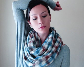 FARMERS DAUGHTER Plaid Scarf - Infinity Scarf - Brown and Teal Cotton Loop Scarf - Lightweight Checkered Circle Scarf