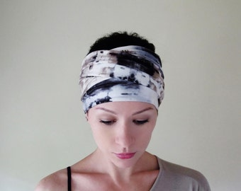 TIE DYE Yoga Headband - Hand Dyed Head Scarf - Jersey Workout Hair Wrap - Bohemian Head Covering - Black, Taupe, Slate Grey, White