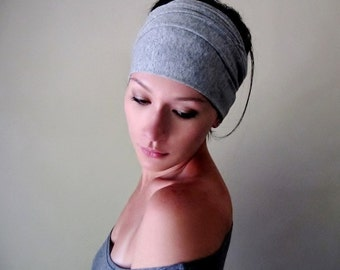 HEATHER GREY Head Scarf - Extra Wide Jersey Hair Wrap - Yoga Headband - Workout Hair Accessory - Jersey Head Scarves