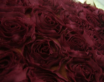 lace  3D big rose flower white black red rosy green burgundy  lace fabric half yard for decoration wedding