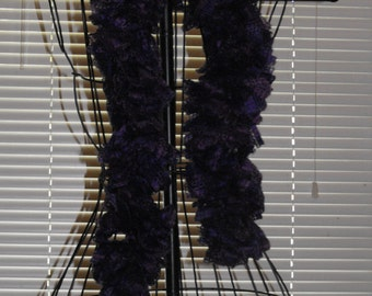 Deep Purple Lacy Look Ruffle Scarf - 45 Inch