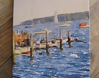 Full-sized Greeting Cards of  Sailboats in Mattapoisett Harbor, Mattapoisett, Massachusetts, with Envelopes