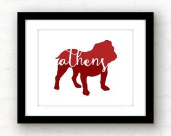 Athens art // Athens, GA print // Athens poster // Georgia bulldog // Athens Georgia art