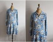 70s Mod Mini dress. Poly Dress. Novelty Print Dress. Size M/L