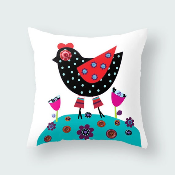 Animal Pillows For Nursery : Items similar to kids throw pillow with animal and dots, hen, Kids bedding, kids pillows ...