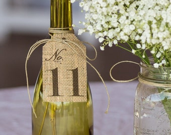 Burlap TABLE NUMBER Tag / Rustic Wedding Centerpiece / Party Centerpiece