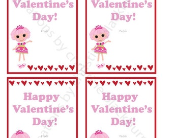 Lalaloopsy - Jewel Sparkle Printable Valentine's Day Cards - INSTANT DOWNLOAD