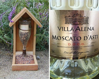 Wine Bottle BIRD FEEDER, Moscato, Recycled Wine Bottle, NEW Metallic Gold Label, Hand Made (bird seed not included)