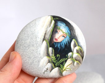 Painted stone. Made to order. Little elf , sprite of the forest painted pebbles.