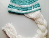 Baby Toddler Girl Queen ELSA Inspired FROZEN Crochet Hat With White Braid ~ You Pick Size: Newborn to 10yrs - Cute Winter Hat