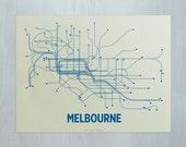 Melbourne Screen Print - Cement/Blue